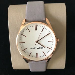 NINE WEST Women's Rose Gold Grey Leather Watch